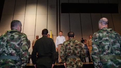 Centro de Convenciones de Cartagena, en jornada de Pedagogía de la Paz, del Presidente con los mandos militares. Foto Presidencia.