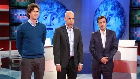 Martín Lousteau, Horacio Rodríguez Larreta y Mariano Recalde, candidatos a jefe de Gobierno de la ciudad de Buenos Aires.