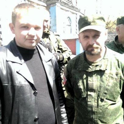 Alexey Albu y el comandante de la Brigada Fantasma Alexei Mozgovoi en el Foro Antifascista en Alchevsk.