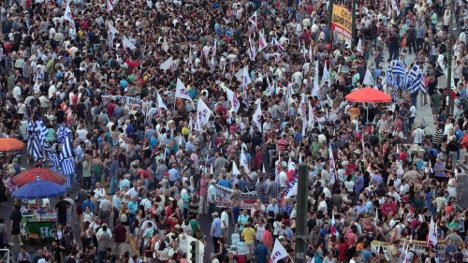 Protesta contra las medidas de austeridad en Atenas el 10 de julio de 2015. - Louisa Gouliamaki - AFP