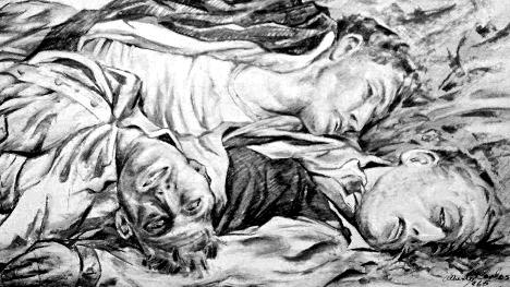 """""""Ellos sabían por qué"""". Cuadro de Alberto Carlos en homenaje a los caídos en Cd. Madera, 1965."""