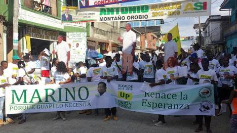 Comunidad de Guapi, marcha en solidaridad con Marino Grueso, candidato de la UP, detenido.