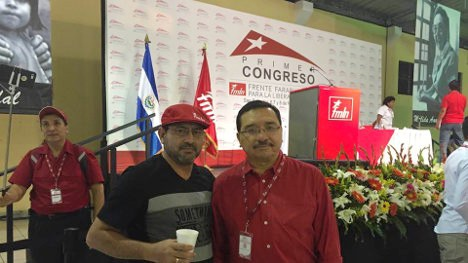 Miguel Cifuentes, delegado de Marcha Patriótica, y Medardo González, secretario general del FMLN.