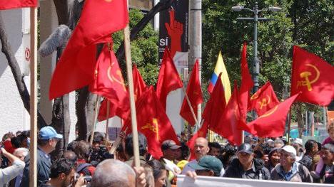 Movilización del Partido Comunista en Bogotá. Foto archivo.