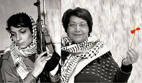 Leyla Khaled con uniforme de guerrillera y en la actualidad.