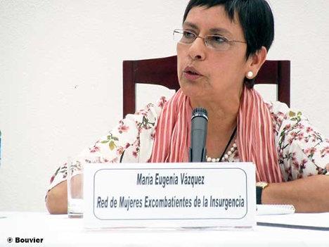 María Eugenia Vázquez interviene en La Habana en representación de la Red de Ex Combatientes de la Insurgencia colombiana. Foto: Bouvier.